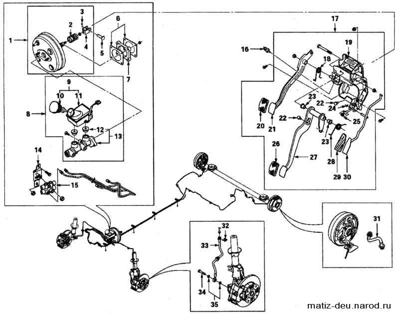 Тормозная система матиз схема