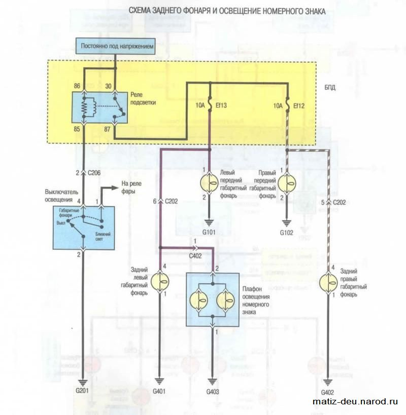 Электросхема заднего фонаря и