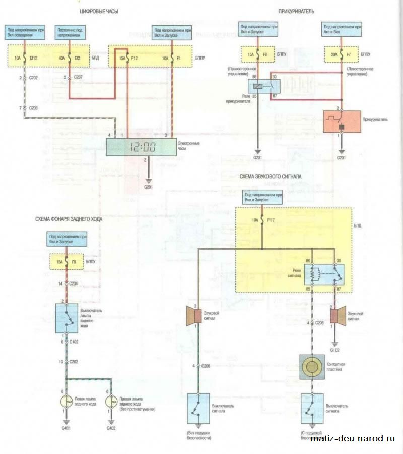 Электро схема на матиз